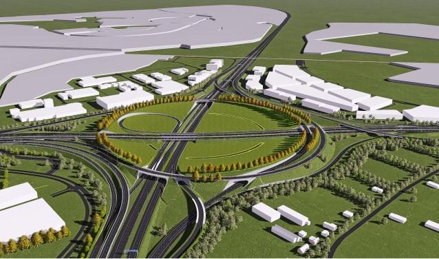 Plannen voor het knooppunt die Rijkswaterstaat eerder presenteerde.