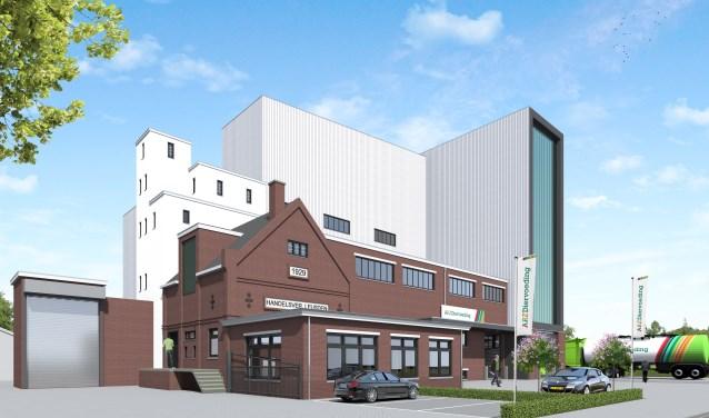 Impressie van de nieuwe silo van ABZ Diervoeding. Het bedrijf behaalde vorig jaar een recordomzet van 210 miljoen euro.