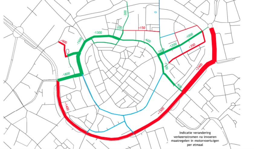 Prognose van de verkeersstromen na invoering van een autoluwe binnenstad.