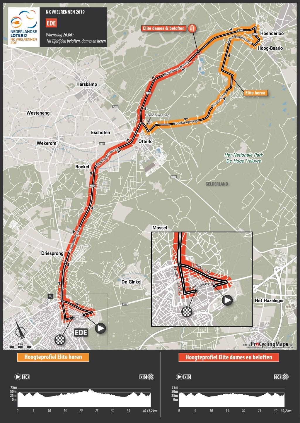 Het parcours van de tijdrit van het NK Wielrennen in Ede. KNWU © BDU Media