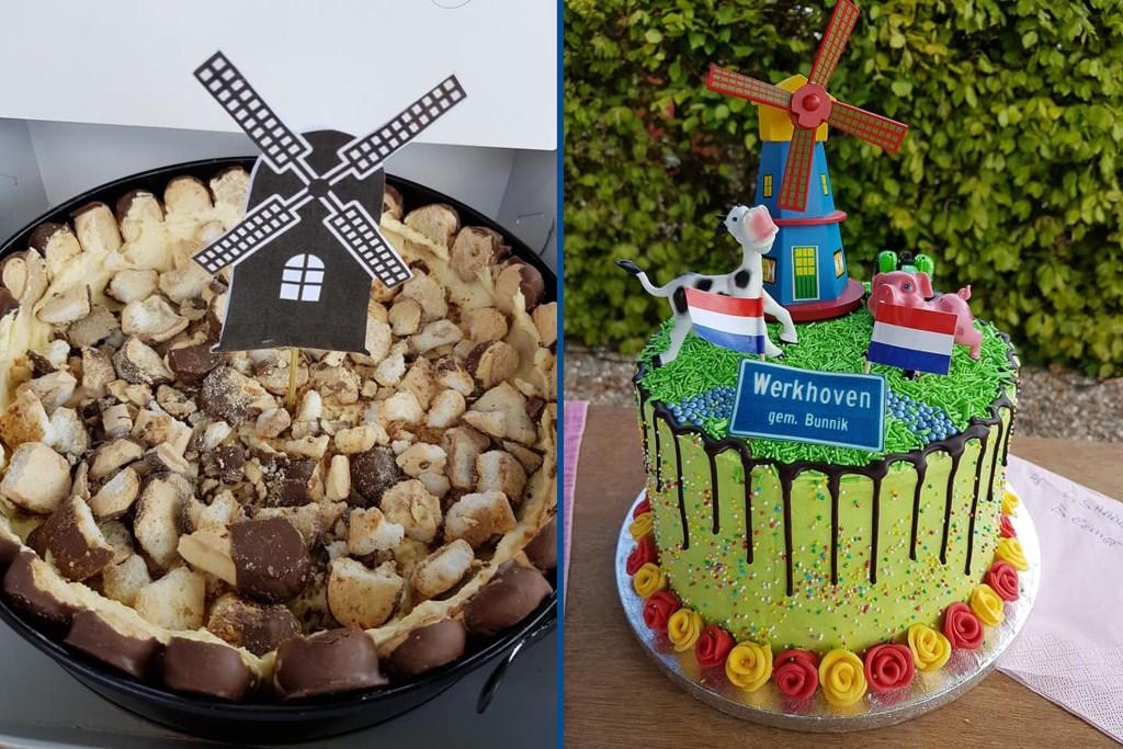 De winnende taarten van de taartenbakwedstrijd. Links van Britt en Jara, rechts van Lisanne. Molen Rijn en Weert  © BDU media