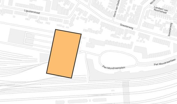 De mogelijke locatie voor een nieuw stadhuis op de Wagenwerkplaats-oost.