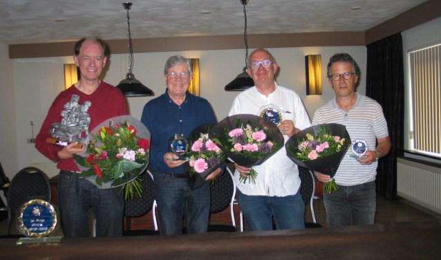 De vier finalisten van het Open Hoevelakens Biljartkampioenschap 2019.