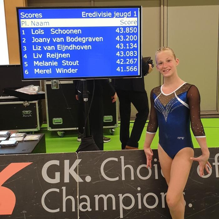 Melanie Stout turnen 5de plaats