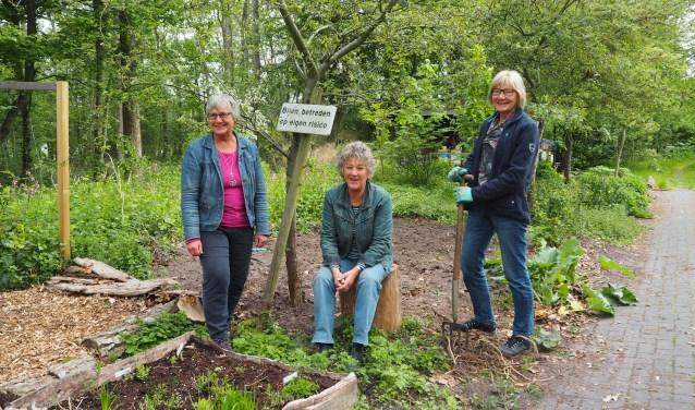 De tuin is grondig vernieuwd, mede dankzij vrijwilligers. Links coördinator Janny Jochemsen.