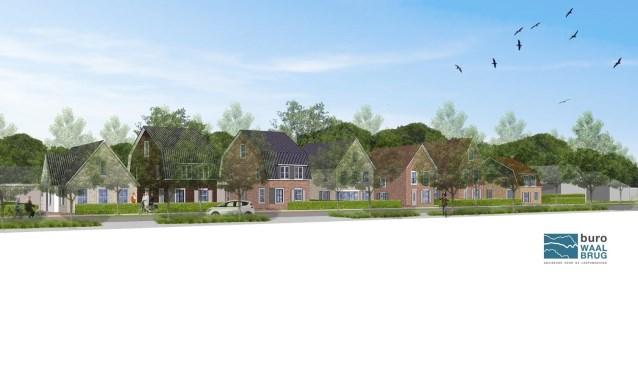 De woningbouw moet plaatsvinden op de braakliggende groene strook van het nieuwe bedrijventerrein.