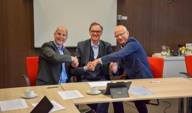 v.l.n.r. J. Post (ODRU), P.L.J. Bos (VRU) en H. Jungen (RUD Utrecht)