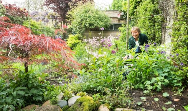 Tjitske in haar weelderige tuin aan het werk.