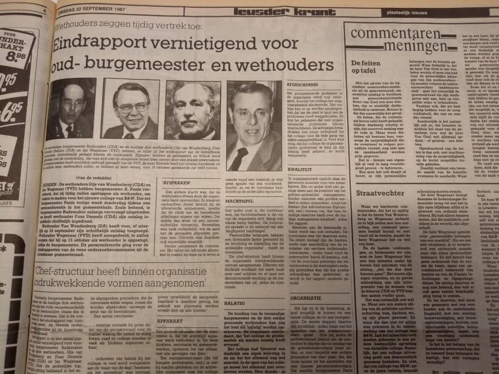 Cruciaal moment: Het verschijnen van een vernietigend rapport bezegelt het lot van het College.  Archief Leusder Krant  © BDU media