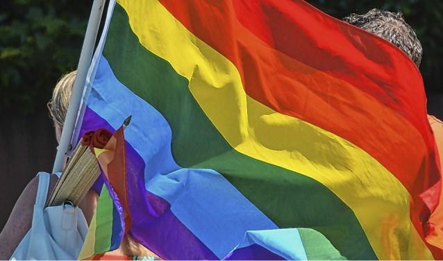 De regenboogvlag, die symbool staat voor seksuele diversiteit, wappert niet meer elke dag voor het raadhuis