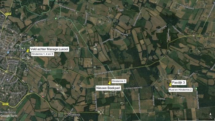 Locaties van de hindernissen Google Earth © BDU Media