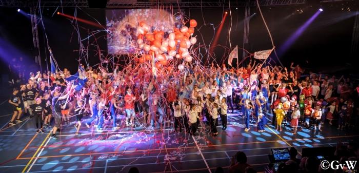 Feest tijdens het slot van de voorstelling