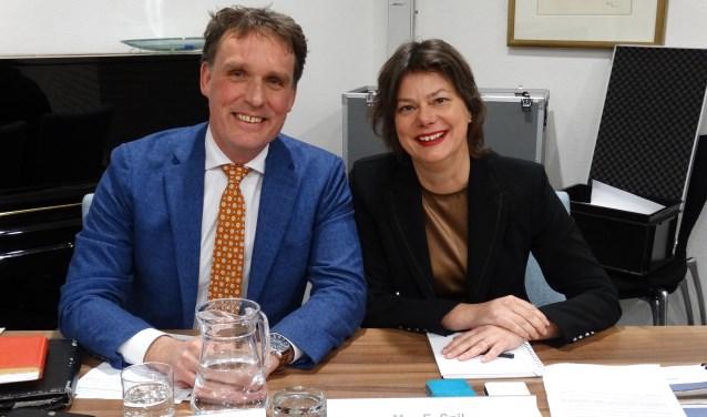 Wethouder Jorrit Eijbersen en wethouder Erika Spil (archieffoto juni 2018). Bunnik kent twee wethouders.