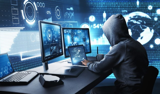 Side view of hacker using computer with digital interface while sitting at desk of blurry interior. Hacking and malware concept. 3D Rendering