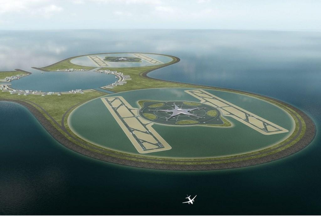Zo zou een luchthaven voor de Nederlandse kust eruit kunnen gaan zien. BE-architecten-en-ingenieurs © BDU media