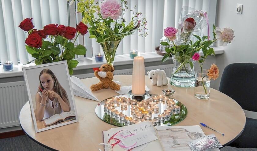 Gedenktafel voor Romy, in een ruimte op de school in De Glind waar Romy leerlinge was.
