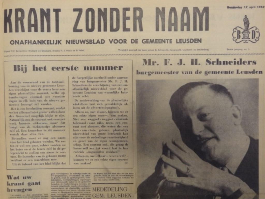 De eerste editie van de Leusder Krant verscheen 50 jaar geleden nog als 'Krant zonder naam'.  Archief Leusder Krant © BDU media