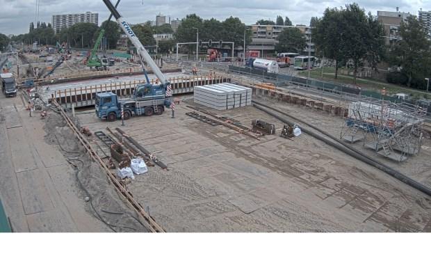 Werkzaamheden ter hoogte van het kruispunt Sportlaan/Beneluxbaan.