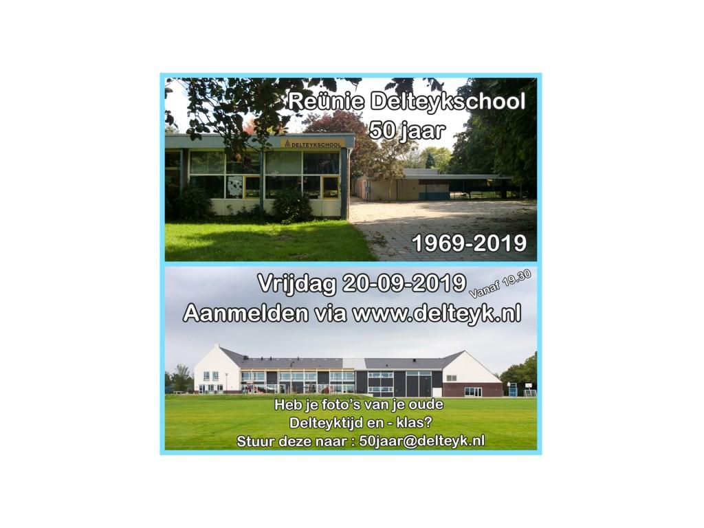 Op de flyer van de reünie staan zowel het oude als het nieuwe gebouw van de school afgebeeld.  Delteyk © BDU media