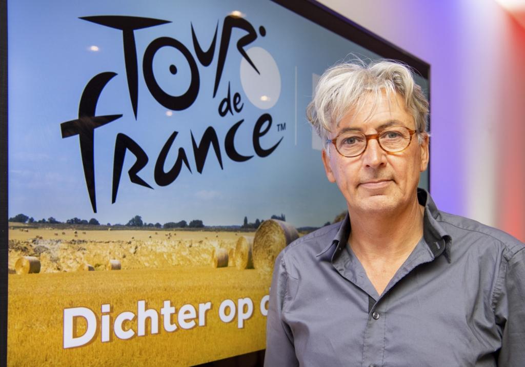 Robbert Meeder in 2019, op weg naar weer een reeks van Radio Tour de France. Piroschka van de Wouw/ANP © BDU media
