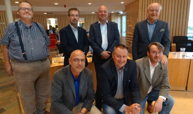 Fractievoorzitters in juli 2018. Jan Oechies (SP) heeft inmiddels plaats gemaakt voor Jeroen Brouwer