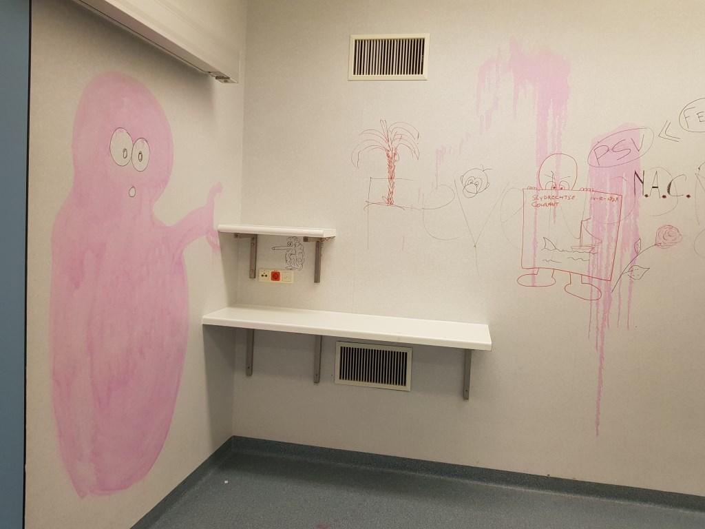 Het ziekenhuis werd de afgelopen dagen aan de binnenkant al wat versierd. Marjanne Dijkstra © BDU media