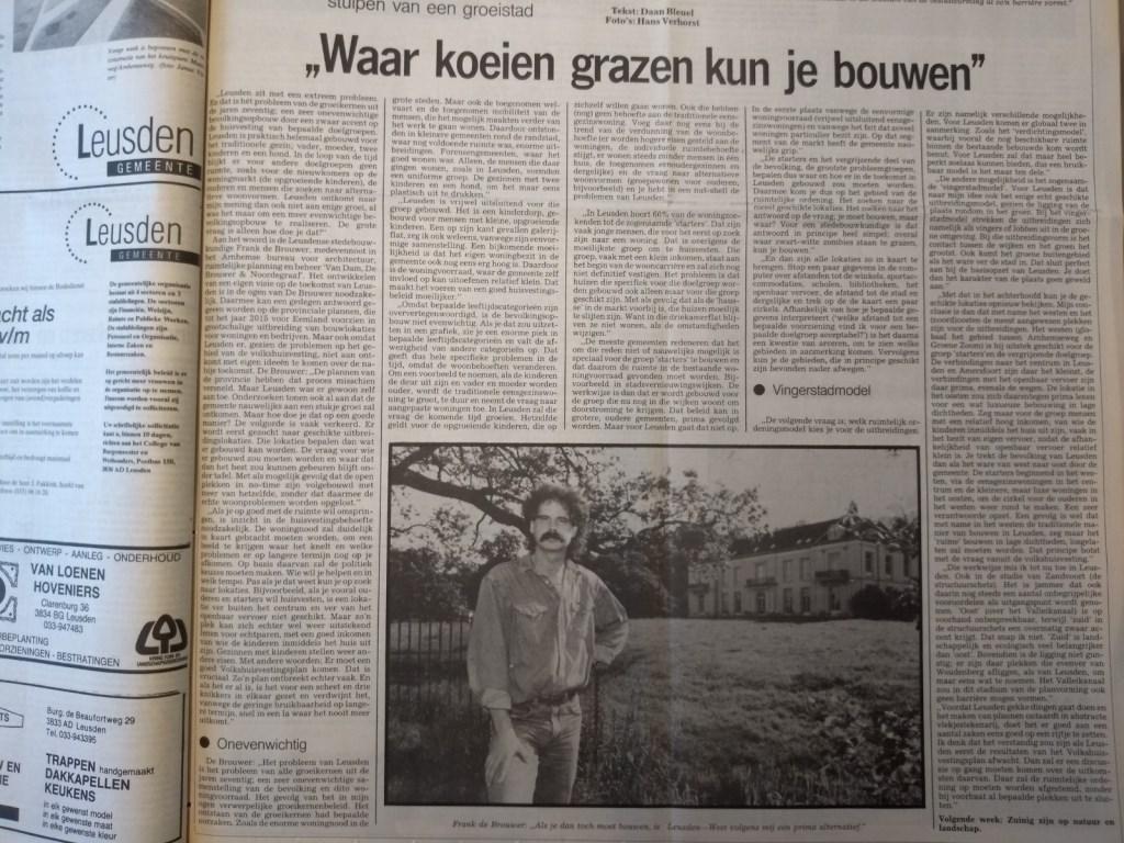 Frank de Brouwer had in 1991 uitgesproken ideeën over hoe Leusden zich verder moest ontwikkelen.  Archief Leusder Krant © BDU media