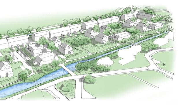 Impressie van de nieuwe Maanwijk aan de Maanweg in Leusden-Zuid. De gemeente wil dat er acht koopgarantwoningen komen.