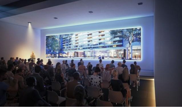 Impressie van de grootste congresruimte van Next Level die voorzien is van een widescreen van ruim 12 meter breed.