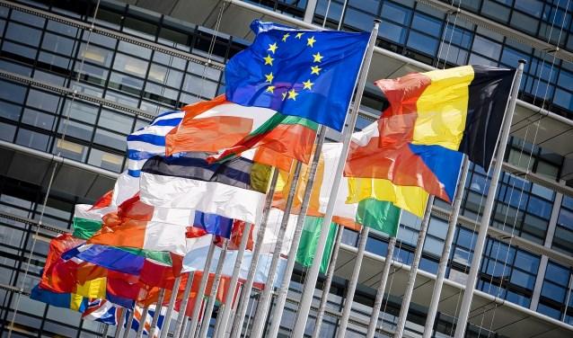 Vlaggen van verschillende Europese landen.