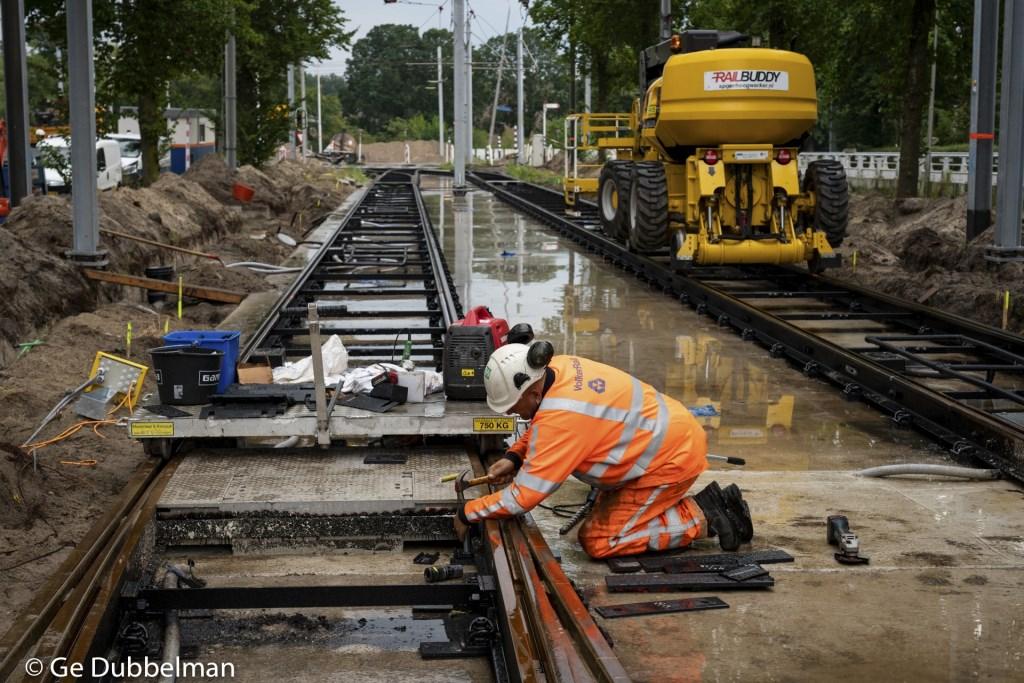 Werkzaamheden aan de rails bij de halte Stadshart. Ge Dubbelman © BDU media