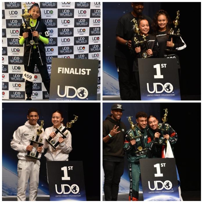 v.l.n.r.: Wereldkampioenen Fayrouz, Sienna & Cayleigh, Fadyan & Sarah, Dante & Jade