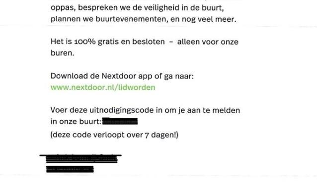 Deze brief van Nextdoor viel afgelopen tijd bij veel inwoners van Houten op de deurmat