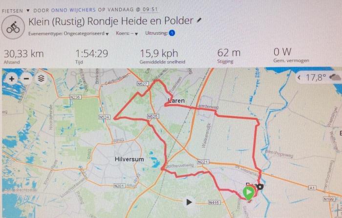 Mijn fietsroute van vrijdag 16 augustus 2019 Onno Wijchers © BDU media