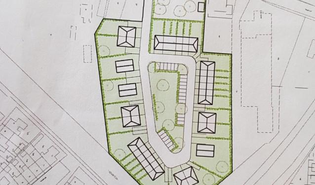 De tekening van de eerste plannen achter de Hoogstraat.