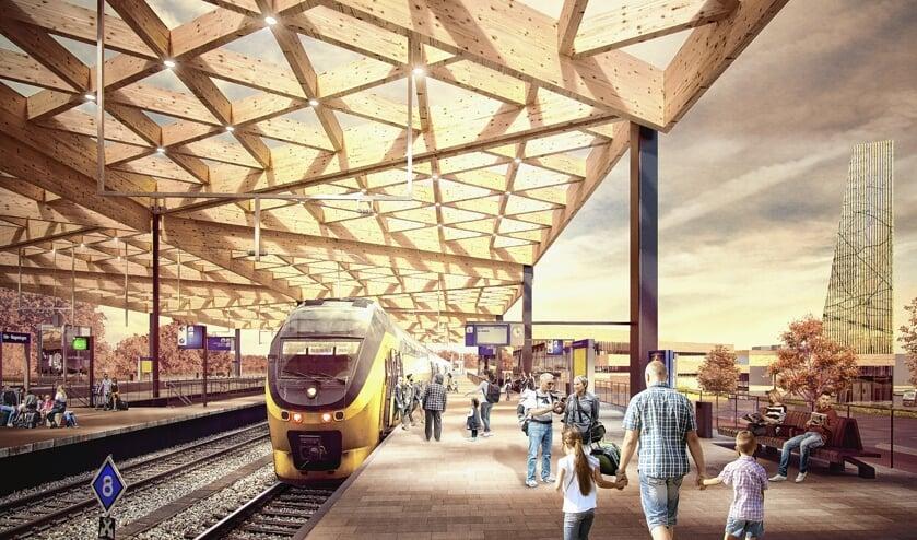 Artistieke impressie van het nieuwe station Ede-Wageningen.