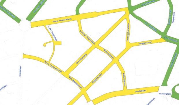 Parkeerplannen voor het Bergkwartier met bestaand (groen) en gepland (geel) vergunningparkeren.