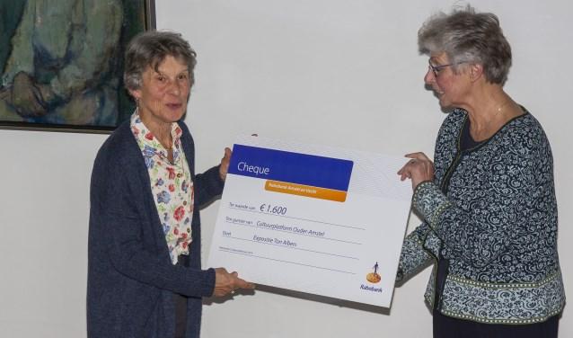Anke Bollen (links) overhandigt cheque aan Jozé van der Voort