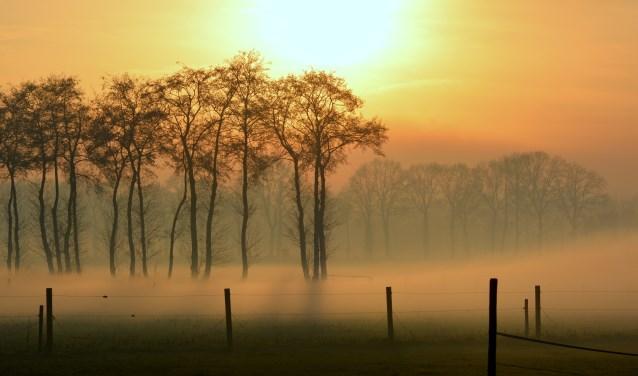 Samenspel van mist en de laatste zonnestralen op oudjaarsdag.