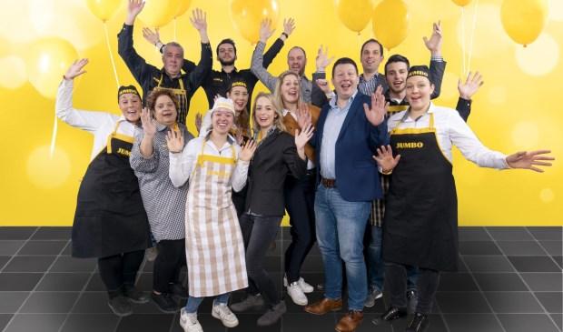 Ondernemers Patrick en Patricia van Veldhuizen en hun team tijdens de 7 Zekerheden training van de Jumbo Academy op het hoofdkantoor van Jumbo Supermarkten in Veghel.