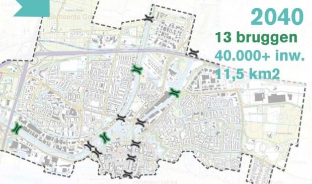 De groene markeringen geven de plek van nieuwe bruggen aan