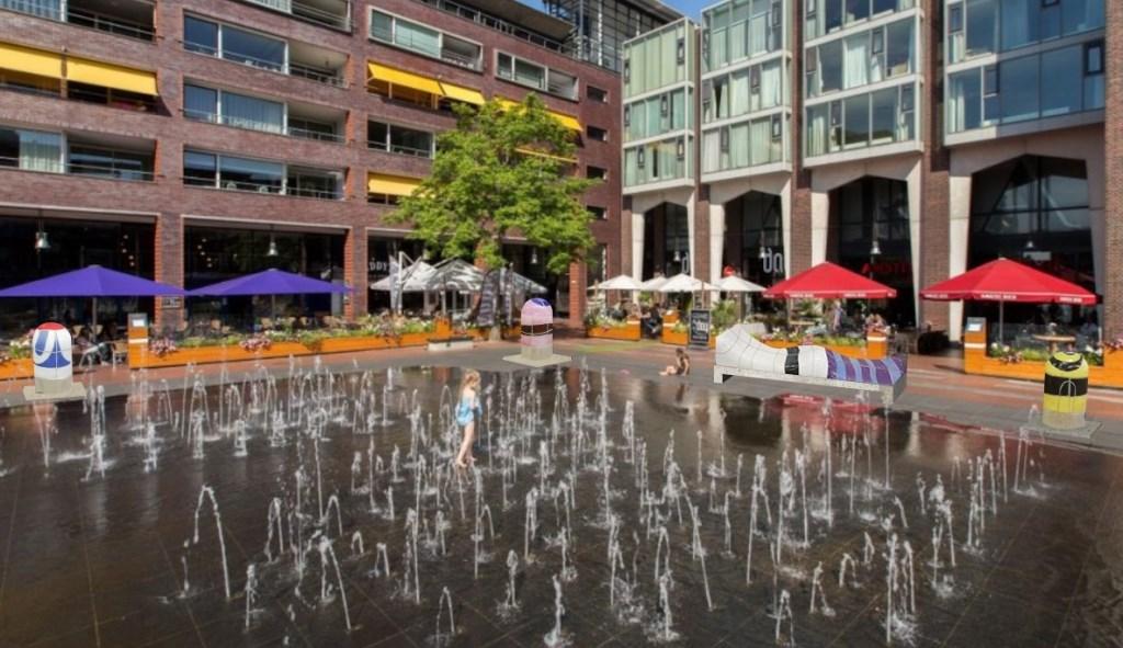 Impressie van een bank en bokkesprongpaaltjes van Jan Snoeck bij de fontein op het Stadsplein. Gemeente Amstelveen © BDU media