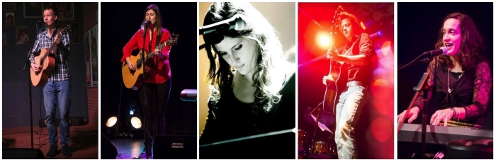 Vlnr.: Marijn van Muijen, JaneLynn, Mijke Breepoel en The Mockingbirds