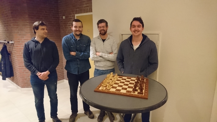Winnend bekerteam v.l.n.r. Tim de Jongh, Gerben van Pel, Martin Veldhuizen en Daan van Pel