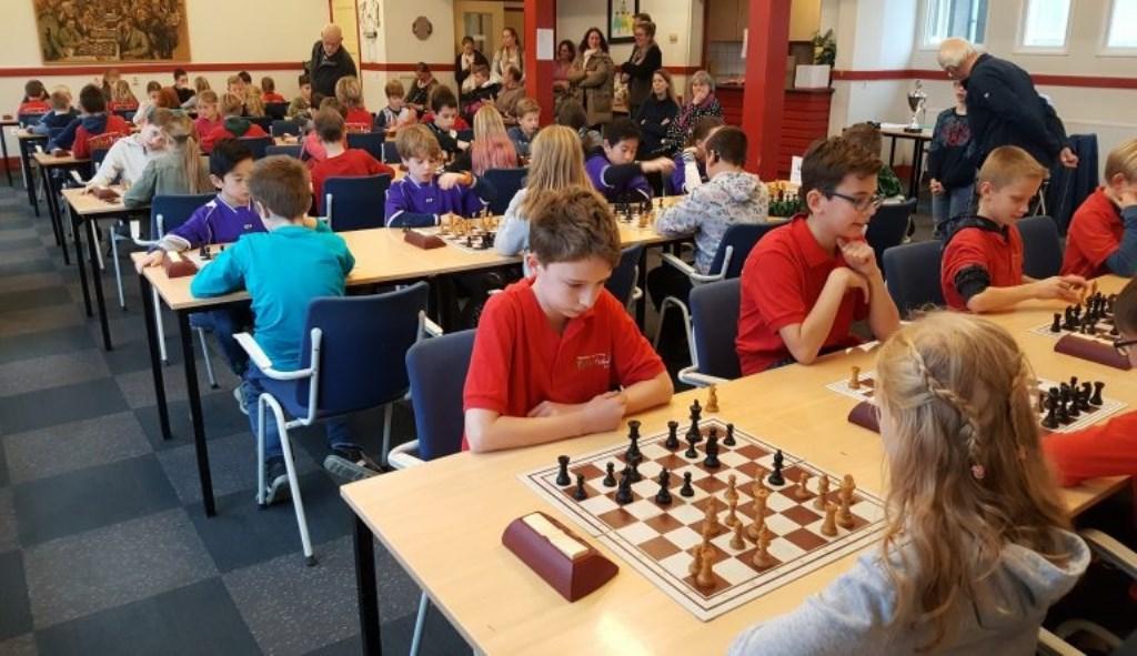 Overzicht van de schoolschaakstrijd bij BSV Bennekom. BSV Bennekom © BDU Media