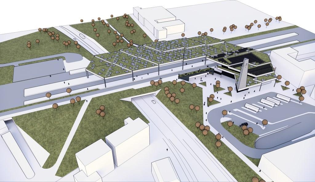 Een tekening van het nieuwe station Ede-Wageningen boven de Albertstunnel. Rechts het nieuwe busplein bij de hoofdingang. Projectbureau Spoorzone Ede © BDU Media