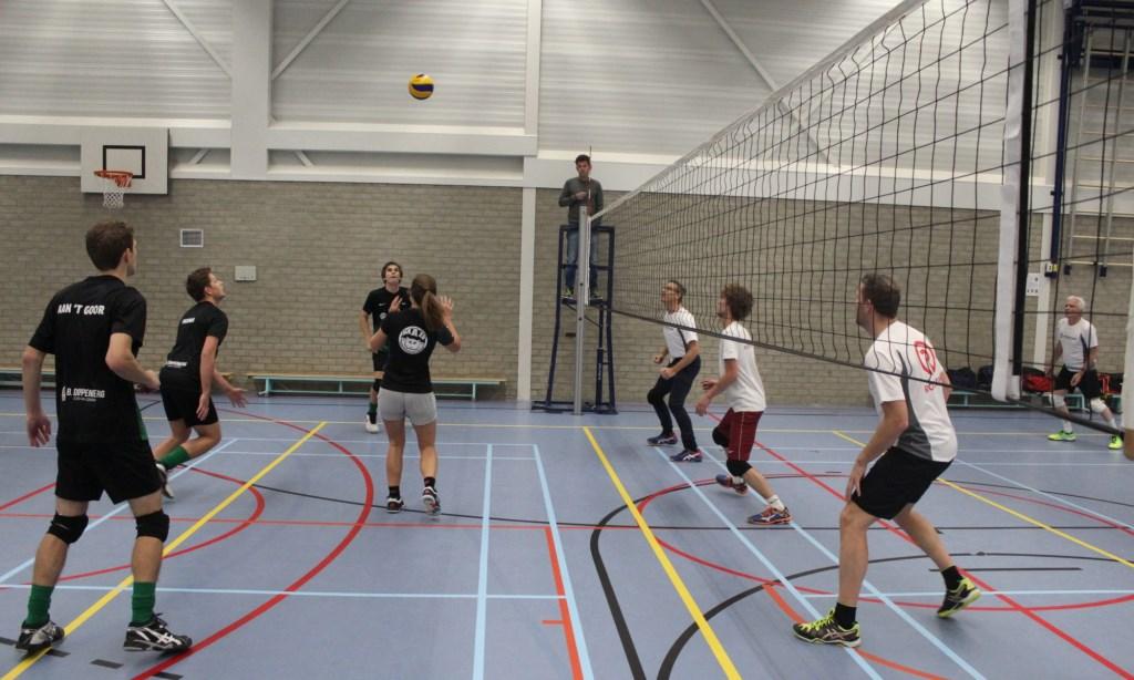 Elke dinsdagavond wordt er in de Putter Eng bedrijfsvolleybal gespeeld, hier door Sterk in Groen Hoveniersbedrijf (zwart). Eigen foto © BDU media