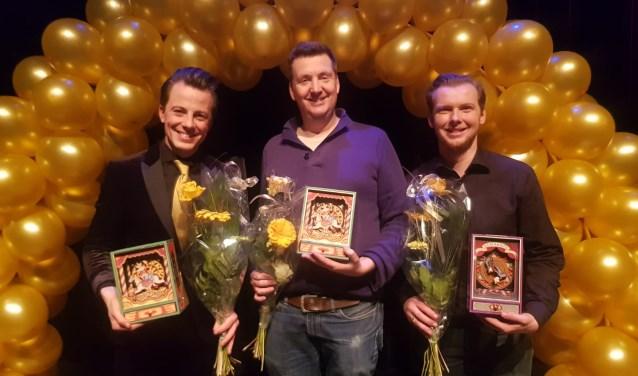 Kevin van den Berg, Mark van Driel en  Jasper Rottier (vlnr) van Karakter vielen vorig jaar in de prijzen.