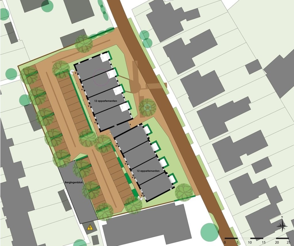 Tekening voor 24 nieuwbouw appartementen Van Wanrooij www.molenweg22-30.nl © BDU media