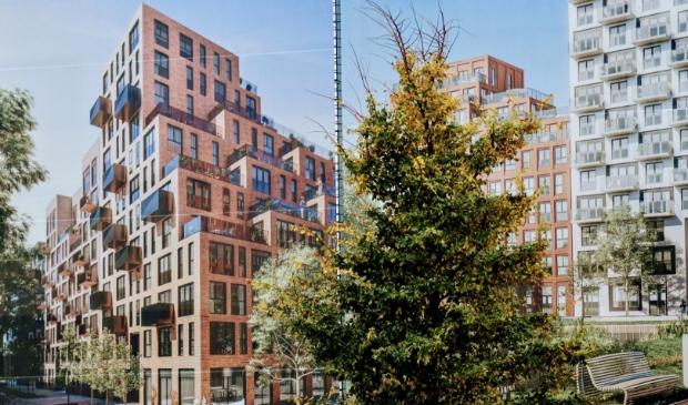 <p>Op de hoek van de Kruisweg en Van Heuven Goedhartlaan in Hoofddorp wordt straks flink gebouwd. Om te laten zien wat er gaat komen, hangen er enorme &#39;artist impressions&#39; van het project. </p>